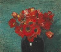 stillleben mit roten anemonen vor grünem grund by walter vaes