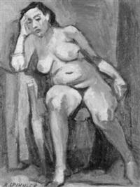 sitzender weiblicher akt by rolf spinnler