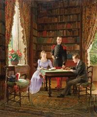 private bibliothek mit sitzendem paar und französischem offizier by maurice leloir