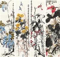 花鸟 四条屏 纸本 (in 4 parts) by lin fengsu