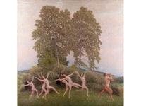 der reigen - tanzende mädchen mit einem flöte blasenden faun by maximilian lenz