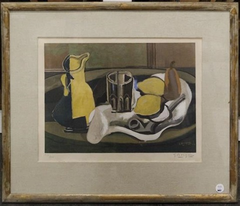 nature morte au pichet verre pipe et fruites by georges braque