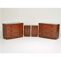 bedroom suite: pair of dressers (no. 3770), pair of nightstands (no.3770) by gilbert rohde