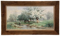 pastoral scene with cows beneath flowering trees streamside by carl weber