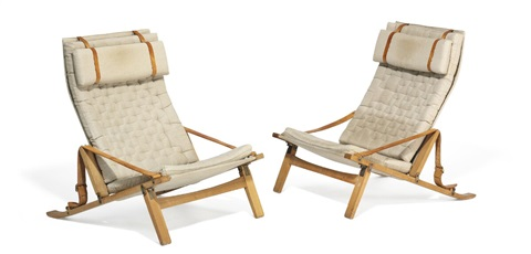 Genial A Pair Of Oak Foldable Easy Chairs Upholstered With Canvas By Preben  Fabricius And Jørgen Kastholm