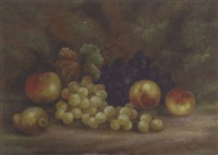 grapes, peaches, an apple and a pear on a mossy bank by e. steele