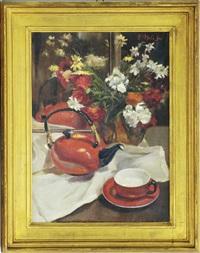 natura morta con vaso di fiori, teiera e tazza by attilio melo