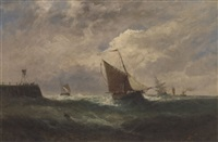 fishing vessels off a harbour wall by w. rogers