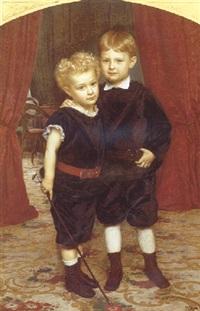 brodre. portrætgruppe af kammerjunker r.f. krags sonner by henrik benedikt olrik