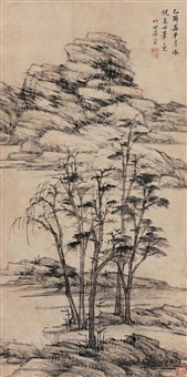 仿倪云林山水 (landscape (in the style of classical masters)) by xue xuan