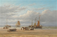 unloading the catch, zaandvoort, holland by hendrik hulk