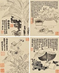花卉写生册 (an album of nine leaves bird and flower paintings) (album of 9) by jin nong