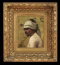 portrait bust of an arabic man by feodor encke