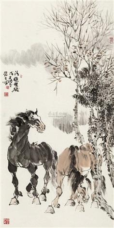 清秋双骏 by zhou rongsheng