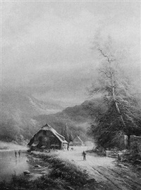 winter landscape with buildings, pond and walking figures by ludwig muninger