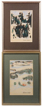 summer & winter maine landscapes (2 works) by bernard langlais