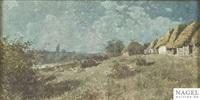 abendliche landschaft mit strohgedeckten datschen by aleksandr grigorevich kantserov
