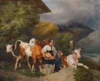 berglandschaft mit bäuerin und ihren kühen by joseph simon volmar