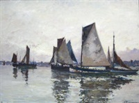fishing vessels in a tranquil harbor by robert henry fouques