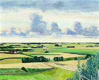 landscape with fields and a cloudy sky by lars swane