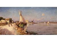 südliche hafenbucht mit anliegenden segelbooten, bäuerlichen ufergebäuden sowie figurenstaffage by joseph langl