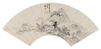 幽居图 (landscape fan) by xu fang