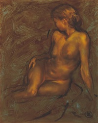 stude of seated female nude by ken hamilton