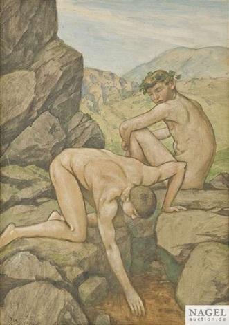 zwei jünglinge an einer bergquelle by hans thoma