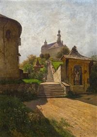 treppe zum augustinerkloster in hallein (morgensonne) by rudolf weber