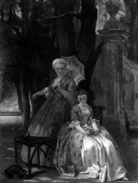 junge dame mit gouvernante im park by constantino sereno