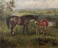 mare and foul in a river landscape by wilson hepple