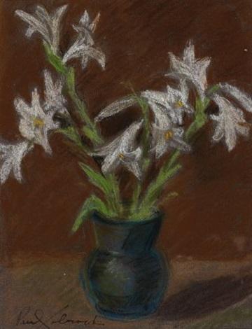 weisse lilien in vase by paul éluard