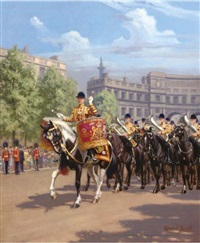 the drumhorse hannibal and band of the life guardsman in state dress by conrad leigh
