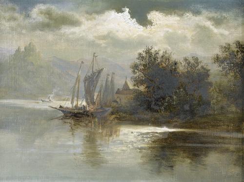 seelandschaft im gebirge mit segelboot by alois toldt