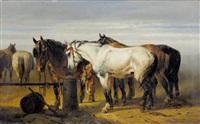 landschaft mit ausgespannten pferden by paul van der vin