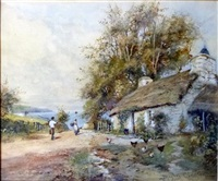 cottage scenes with figures and farm animals (pair) by james hughes clayton