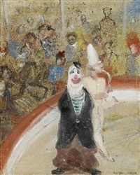 clowns in der manege (+ figurenstudien, verso) by josef hegenbarth