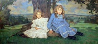 two sisters in a landscape by william dacres adams
