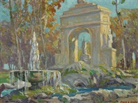 fountains - borghese garden, rome by ossip l. linde