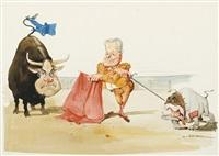 stier- und bulldoggenkampf (willy brandt als matador zwischen helmut kohl mit eu-flagge und den republikanern) by hans reiser