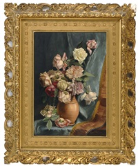 still life of roses and peonies in a pottery vase by emily h. selinger
