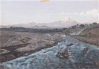 the valley of mexico popocatepetl and iztaccihuatl mountains by julius robert hoening