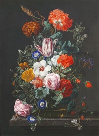 still life of flowers in a vase, rapsberries and blackcurrants nearby by frederick victor bailey
