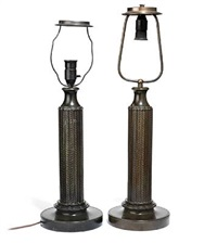 large disko table lamp, stem enchased with stylized ornamentation (pair) by just andersen