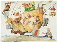 schnecke auf rädern mit brieftauben und satellitenfernsehen, kutschiert von peitsche schwingendem teufel by hans reiser