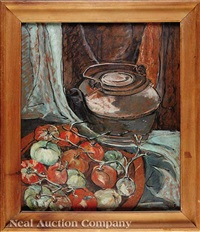 still life with tomatoes and kettle by minnie robertson mikell