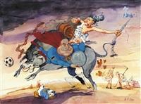 europa auf dem stier und helmut kohl als superman by hans reiser
