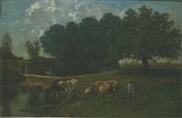 landskap med boskap vid vattendrag by clement (charles-henri) quinton