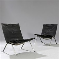 pk-22 pair of easy chairs by poul kjaerholm