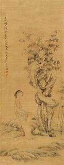 竹石仕女 by jiang xun
